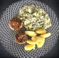 Fischfrikadellen deluxe mit Schmorgurken und Salzkartoffeln
