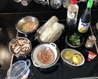 Zutaten für Garnelen mit Shiitake und Reisnudeln